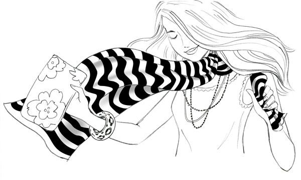 Drawn scarf fashion scarf Decided Illustration: Fashion Fun first