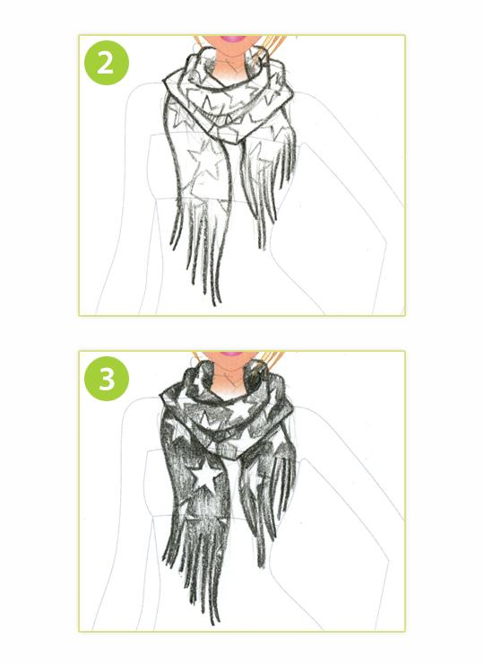 Drawn scarf fashion scarf Down Scarf to design DRAW: