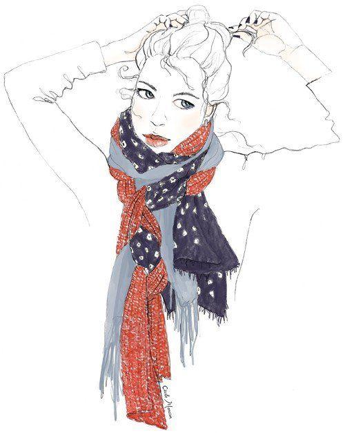 Drawn scarf fashion scarf Illustrations ScarvesScarf Illustrations Fashion scarves