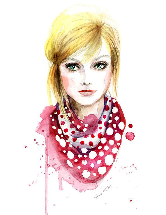 Drawn scarf female Pinterest best Watercolor scarf faces