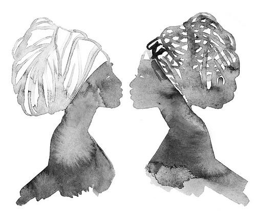 Drawn scarf head scarf Head Hahn drawing: by