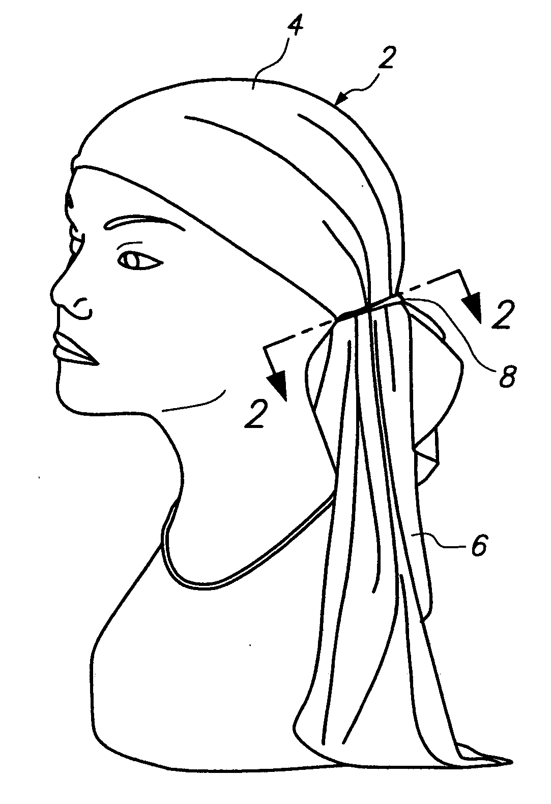Drawn scarf head scarf US20080209614 of it Patent and