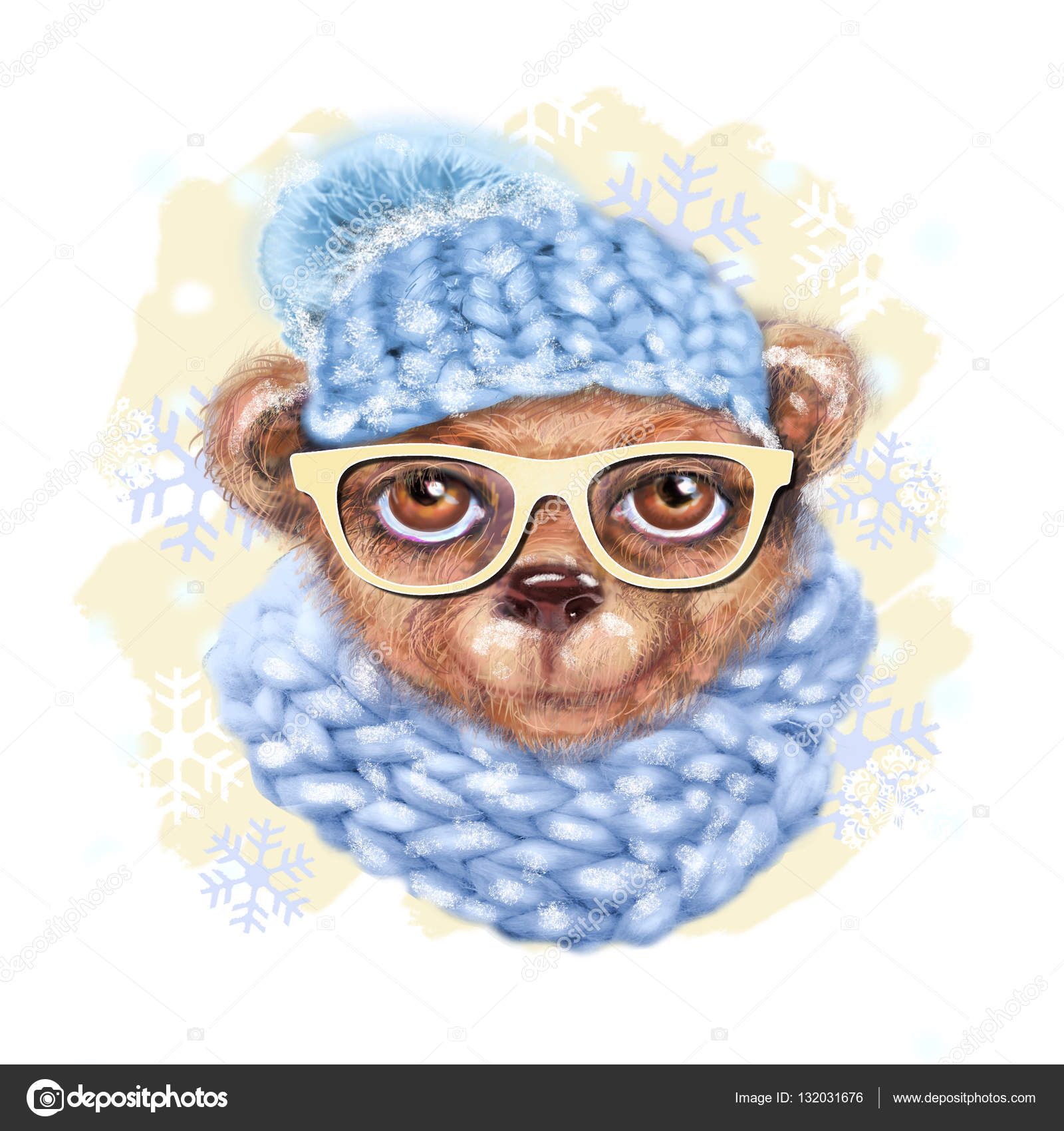 Drawn scarf hipster And of bear glasses with