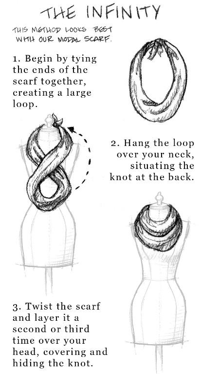 Drawn scarf infinity scarf Tie Any To Tips wear