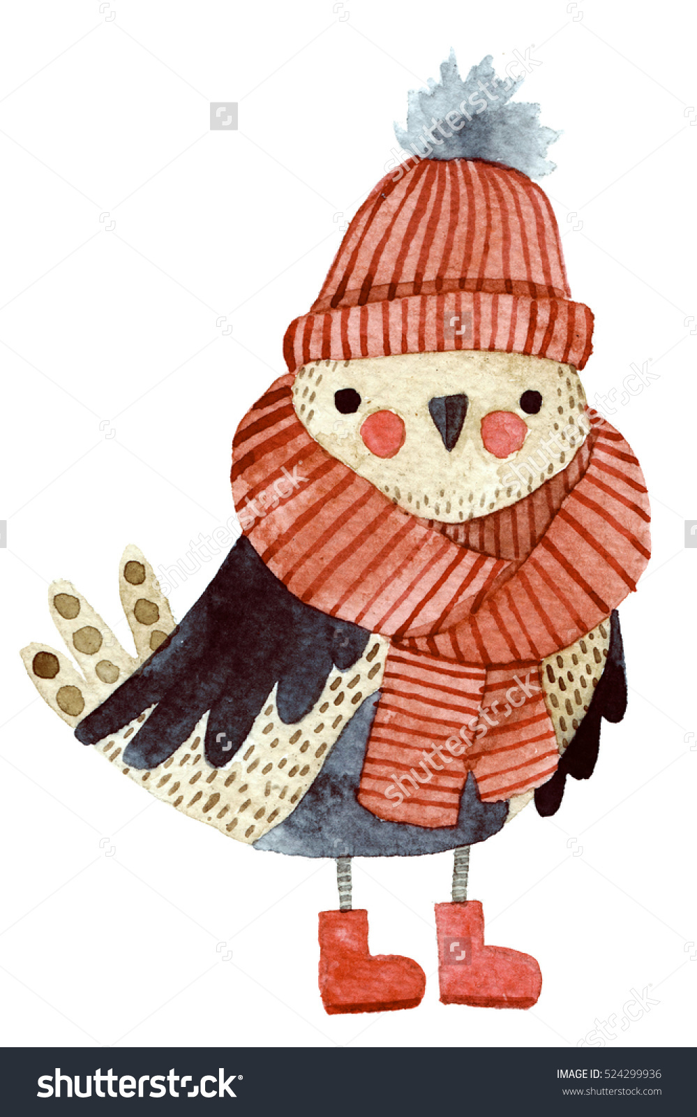 Drawn scarf little  with winter kids Watercolor