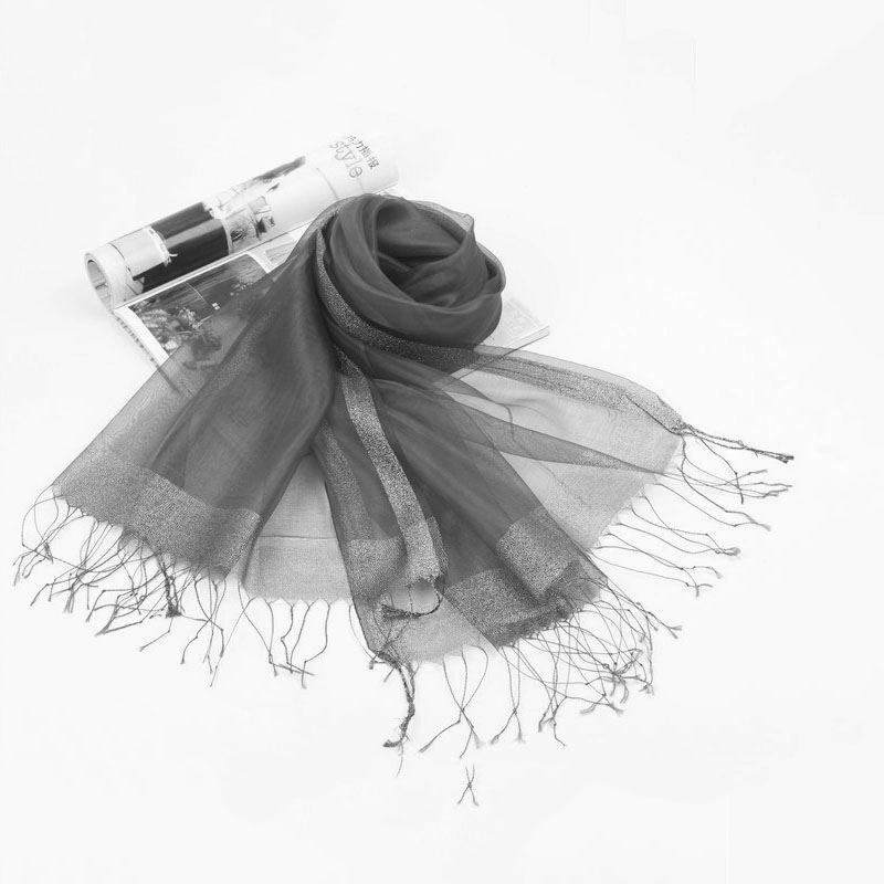 Drawn scarf organza Tassel and solid silk silk