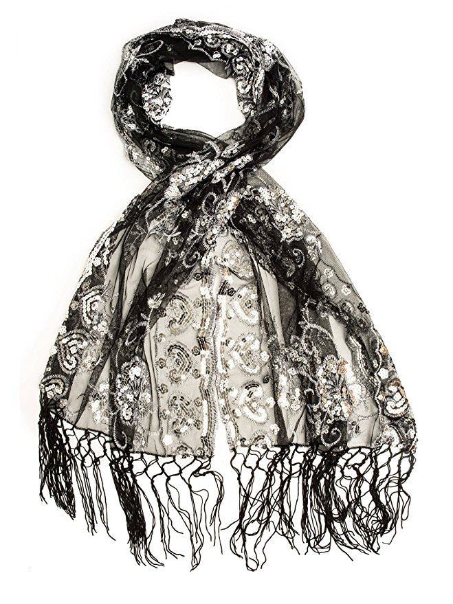 Drawn scarf organza Scarves 95 Fringe from Evening