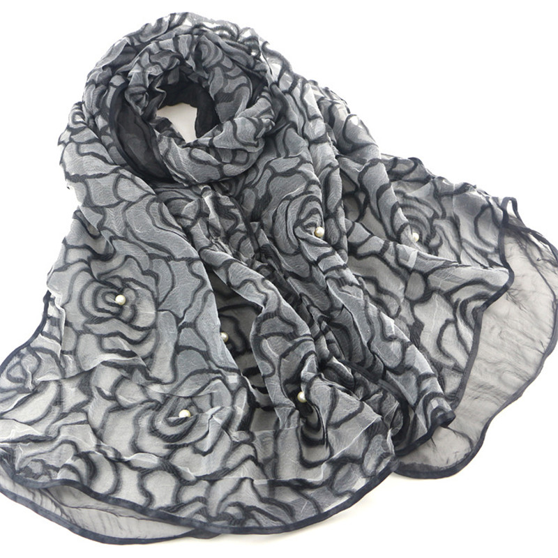 Drawn scarf organza Clip New Cord Women Embroidery