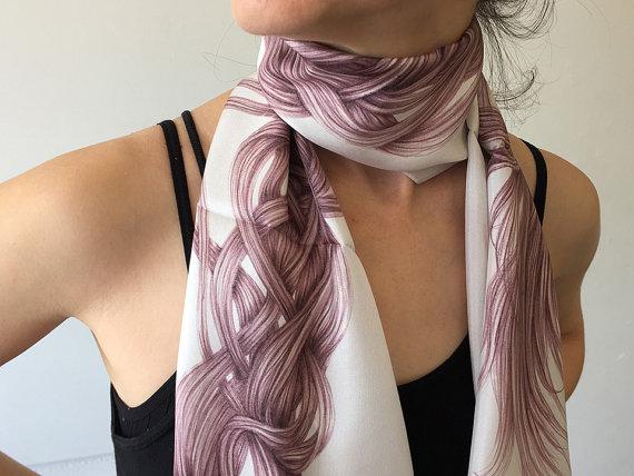 Drawn scarf printed Silk Genuin gift Scarf woman