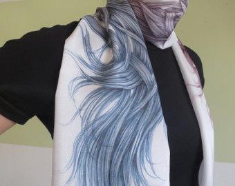 Drawn scarf printed Gradient art unique Scarf scarf