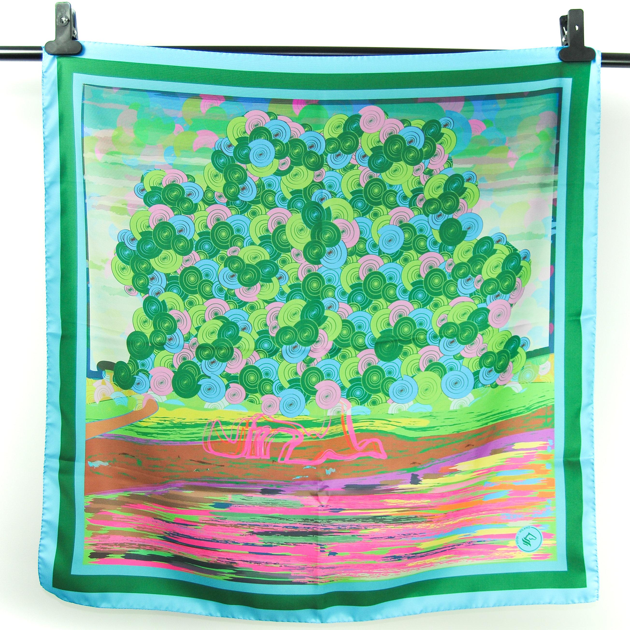 Drawn scarf printed Italy Silk in foulard art