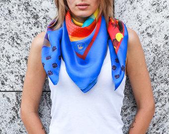 Drawn scarf printed Print Cat italien Silk neckerchief