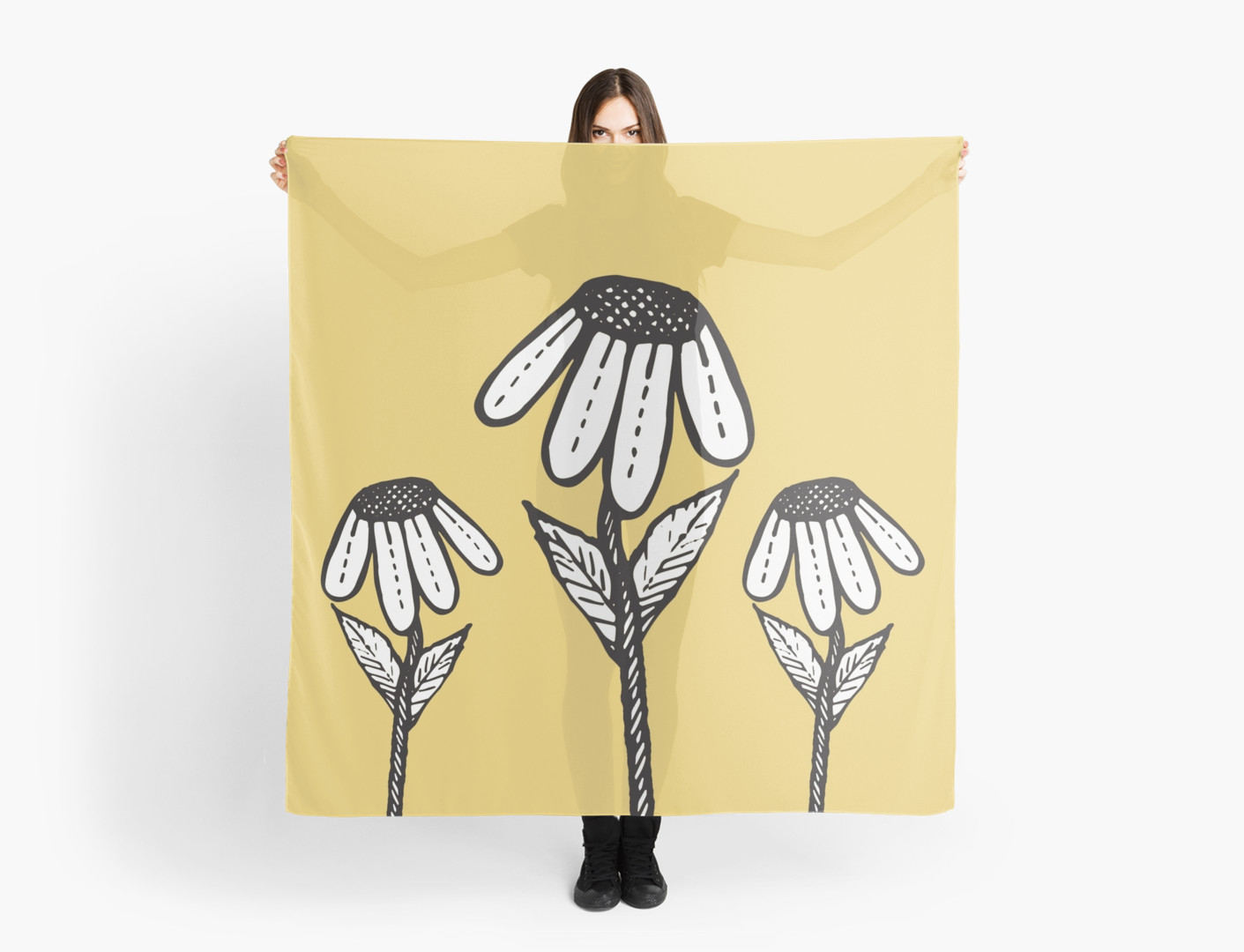 Drawn scarf sad Hand Drooping Blkstrawberry Flowers Scarves