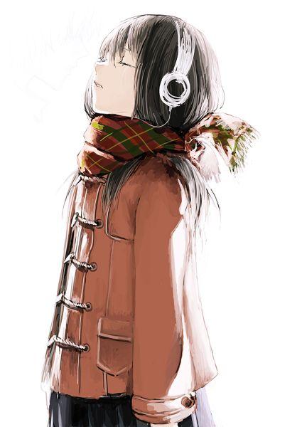 Drawn scarf sad Girl girl Manga 25+