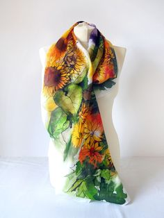 Drawn scarf screen Silk watercolor Life scarf scarves