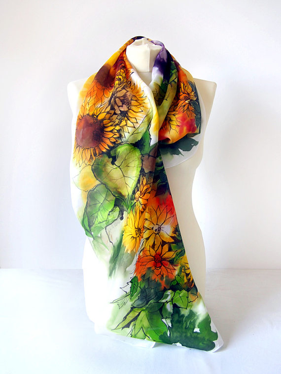 Drawn scarf shawl Hand coneflowers painted drawn painted