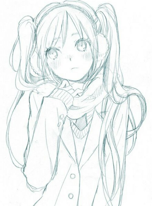 Drawn scarf female Ideas girl Anime Pinterest 25+