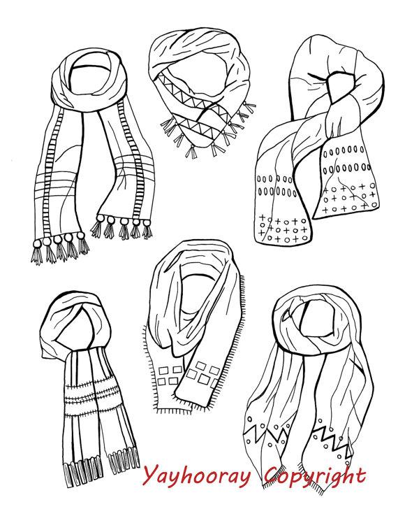 Drawn scarf sketch Scarves yayhooray Drawing yayhooray $15