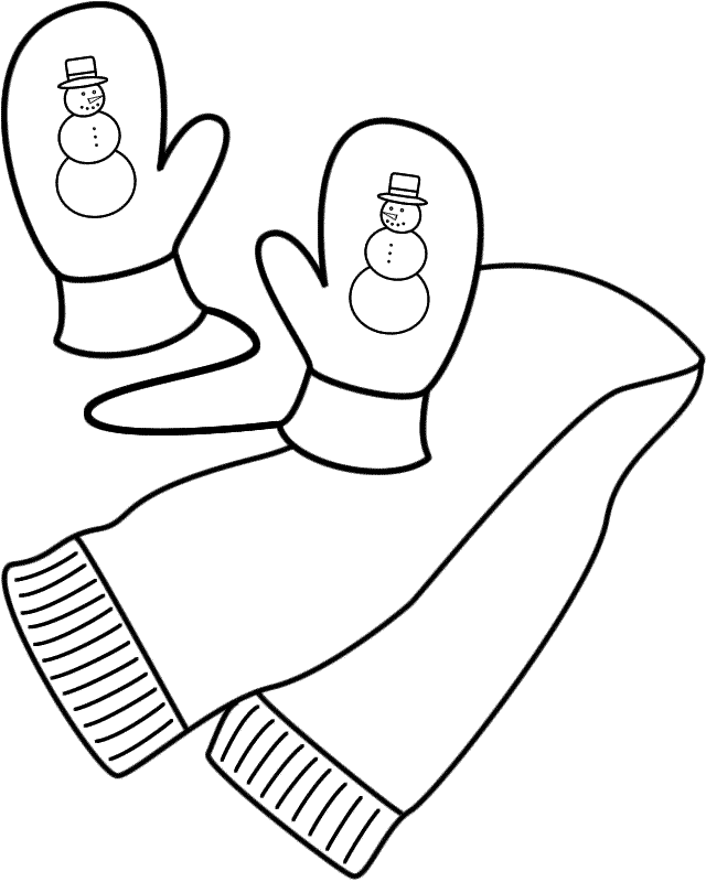 Drawn scarf winter scarf Coloring  and Mittens (Clothing)