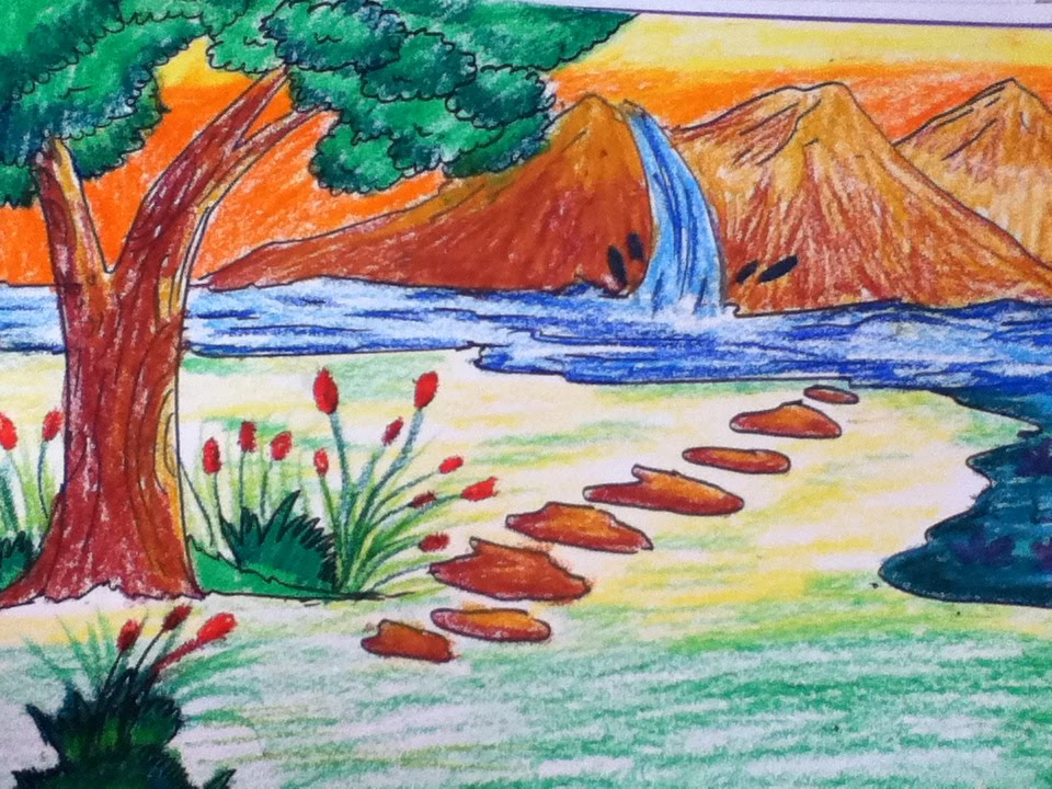 Drawn scenery city Beautiful kids steps simple drawing