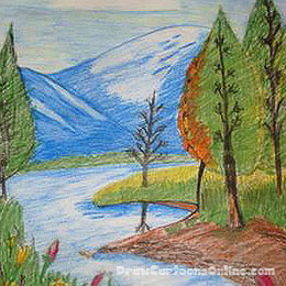 Drawn scenery amazing scenery Collection Coloring Pictures For Beautiful