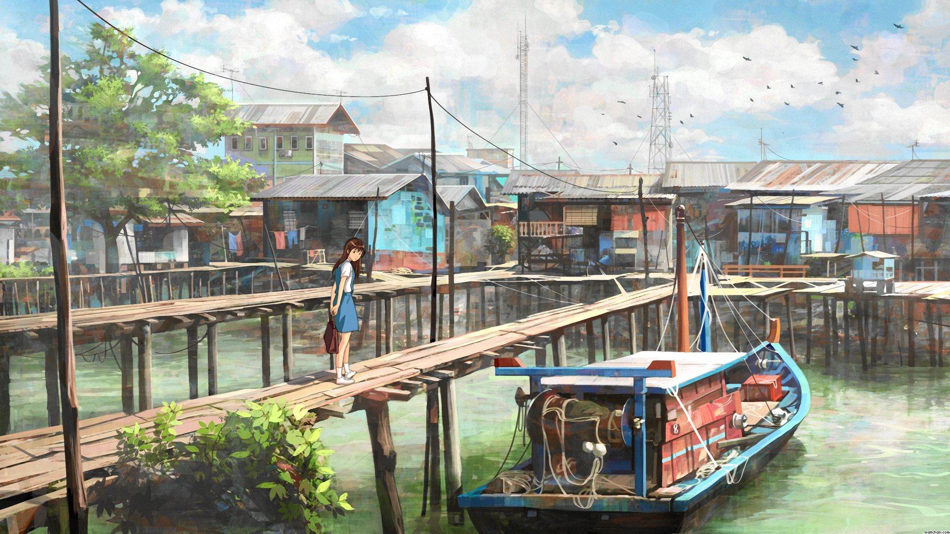 Drawn scenery anime Pinterest wallpaper  City Scenery