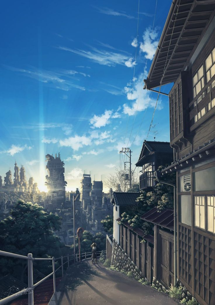 Drawn scenery anime Anime :3 ideas paisagem The