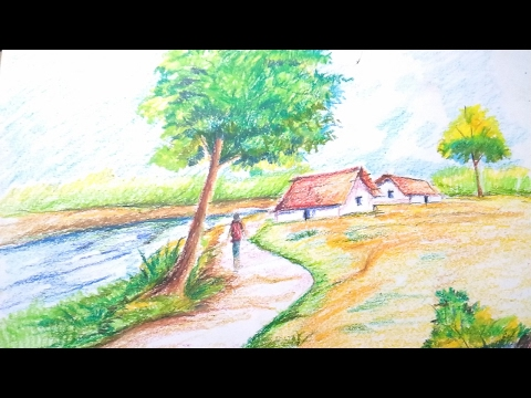 Drawn scenery beautiful village scenery Search To Draw to Youtube