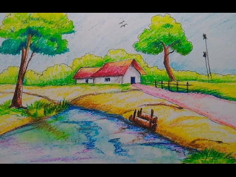 Drawn scenery beautiful village scenery  for scenery draw How