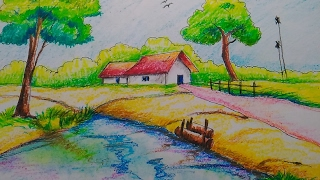 Drawn scenery beautiful village scenery For Oil Kids (part 2