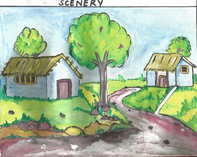 Drawn scenery beautiful village scenery All silent things all drawing