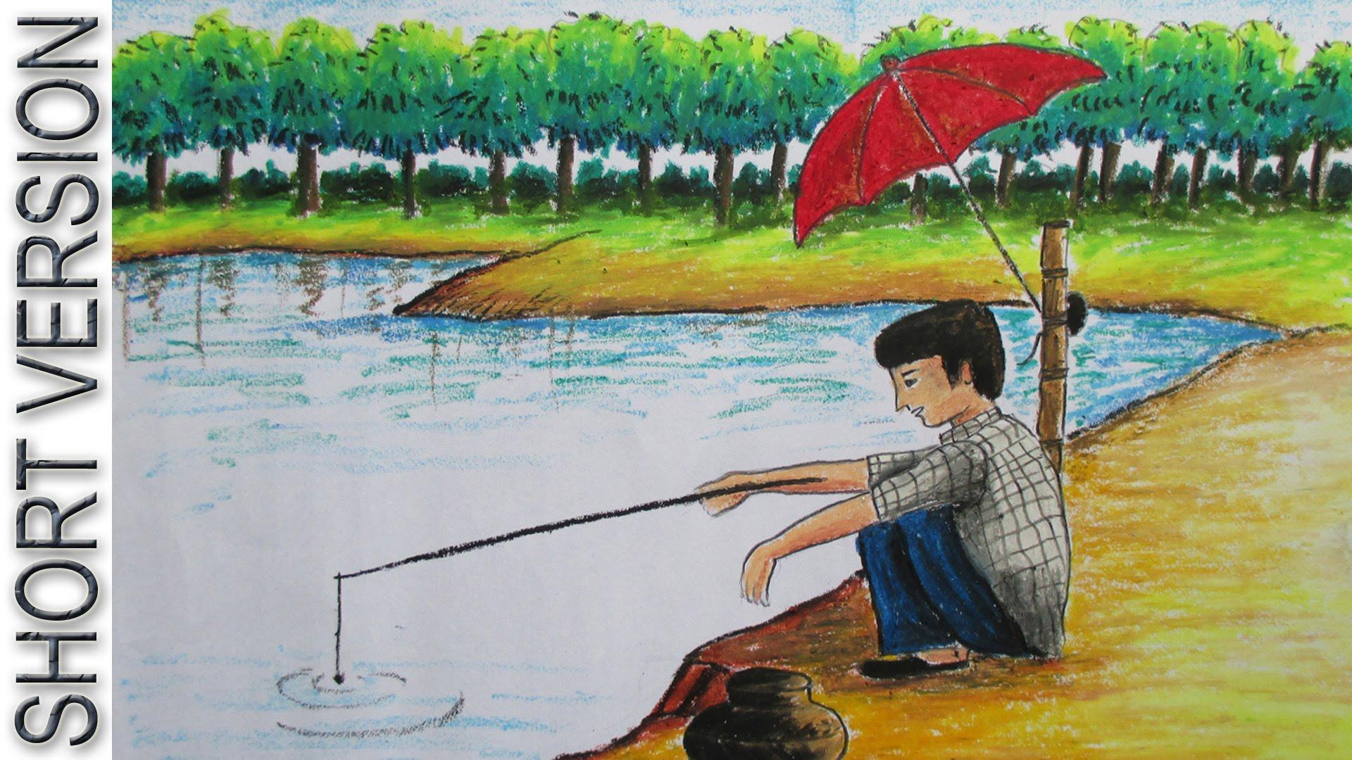 Drawn scenery boy Fishing YouTube [SHORT Draw Fishing