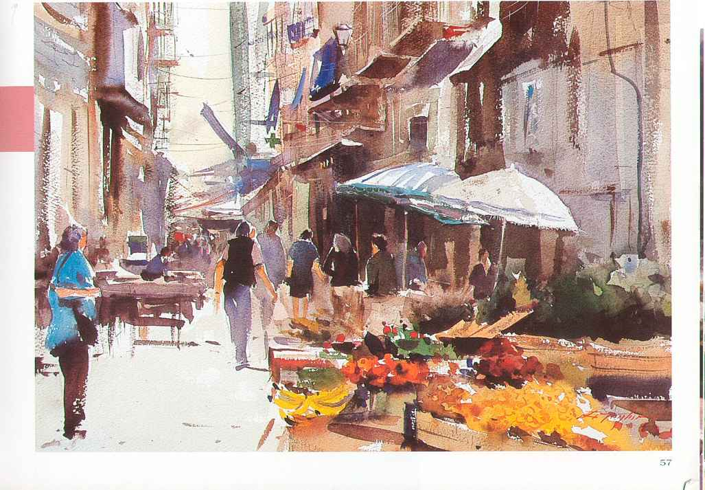 Drawn scenery busy city A and Busy Watercolour Market