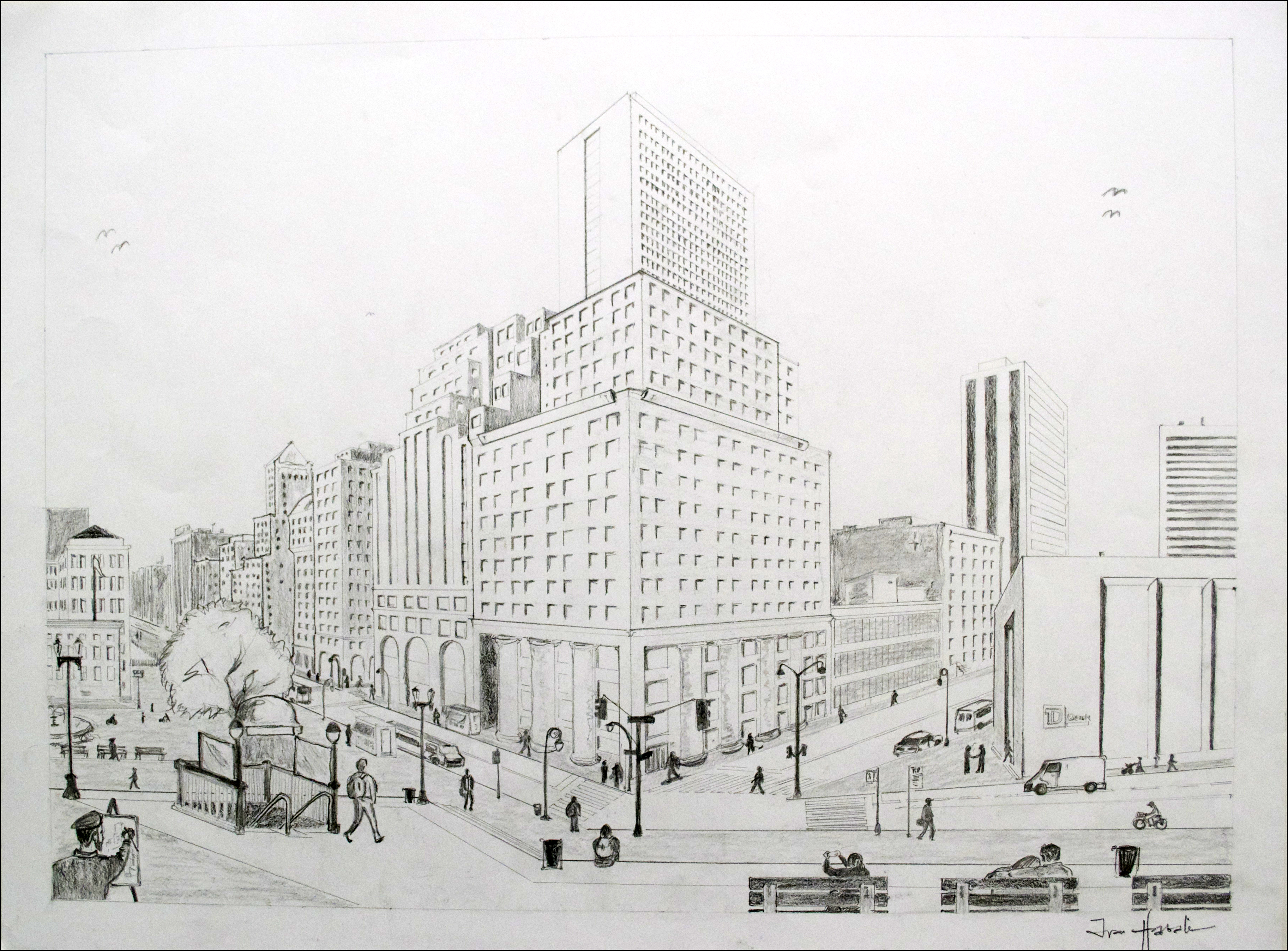 Drawn scenery busy city Perspective Perspective Perspective Point 2