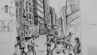 Drawn scenery busy city Scene  draw Ink Drawing
