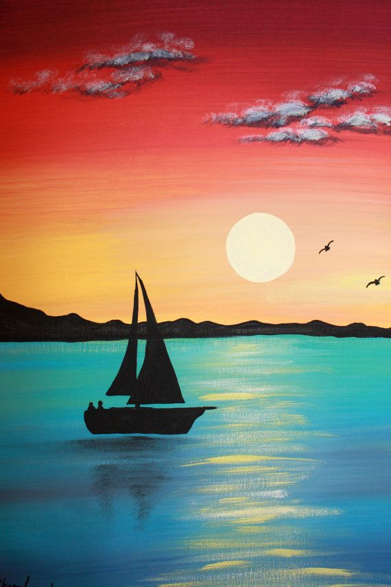 Drawn scenery canvas Paintings Sunset Acrylic Canvas Best