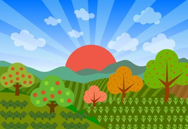 Drawn scenery cartoon Scenery field ornament  sunshine