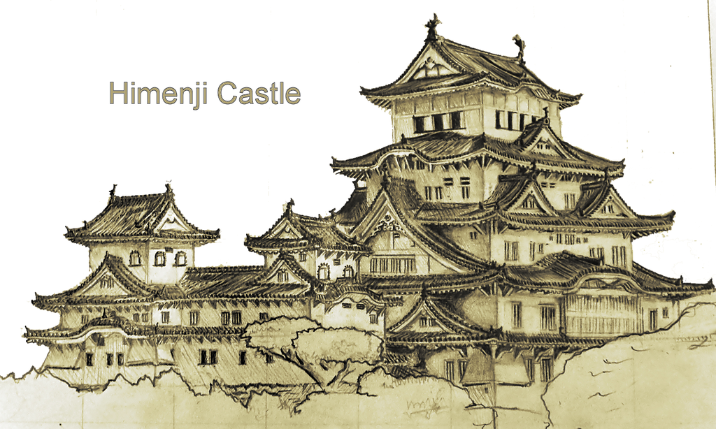 Drawn scenery castle Drawing  stuff castle himeji