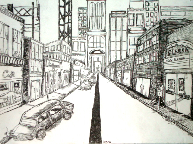 Drawn scenery city One images by point …