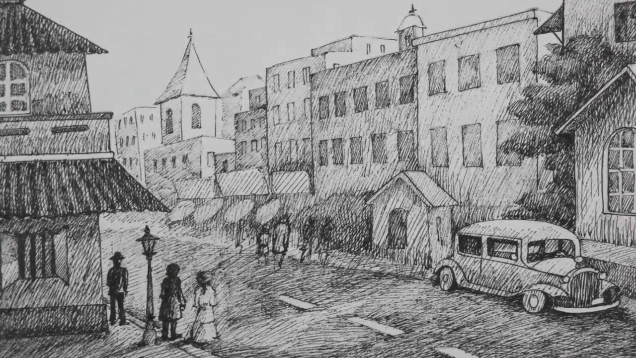 Drawn scenery city building Drawing an How Old Landscape