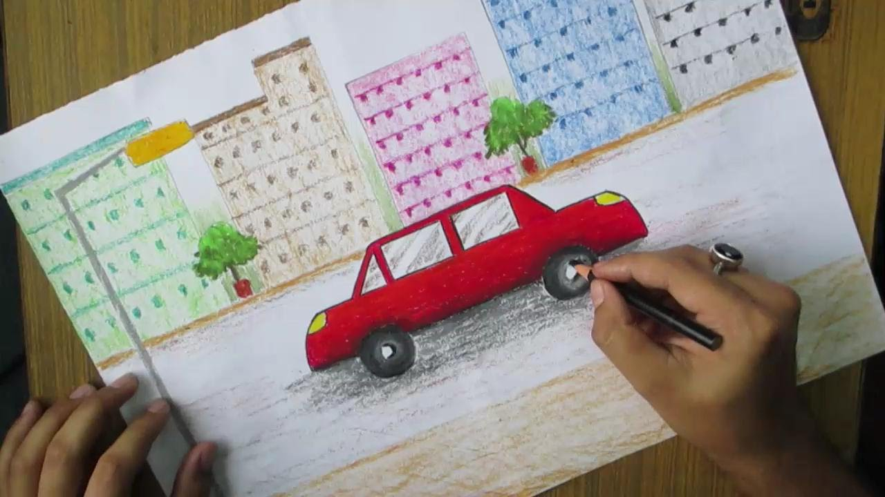 Drawn scenery city traffic With Pastel YouTube Drawing Beginners