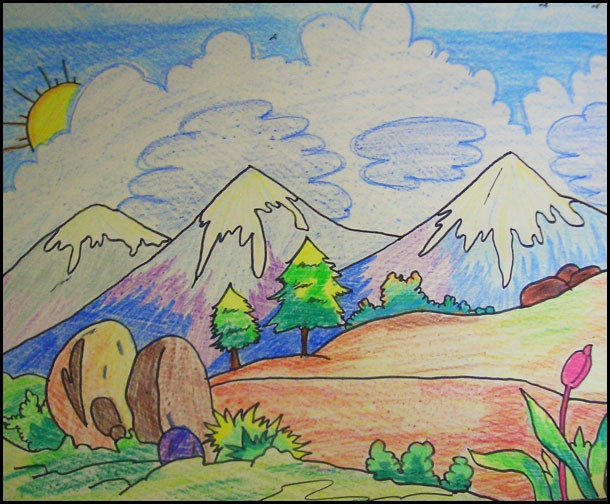 Drawn scenery class 4 For drawings draw of Competition