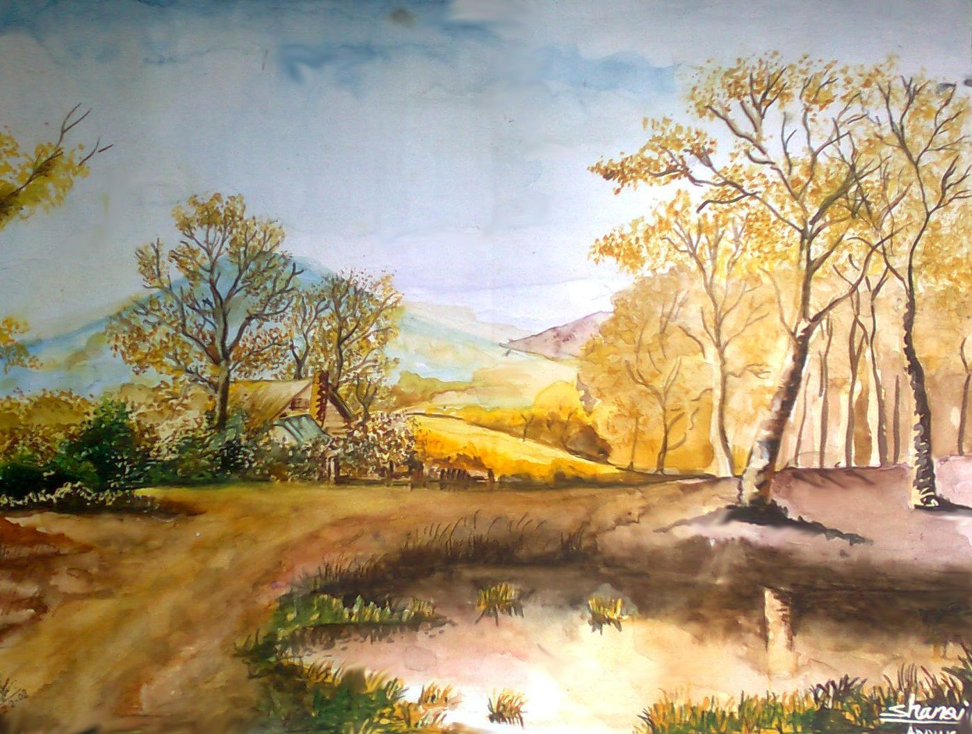 Drawn scenery colored pencil Drawing Drawing  Drawing 2001)