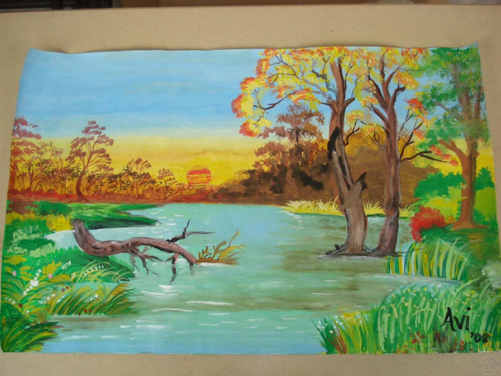Drawn scenery crayon Watercolors Scenery Paintings made Avi