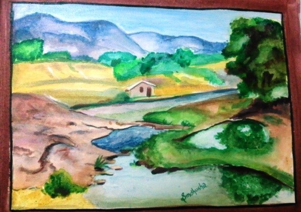 Drawn scenery crayon Painting Children Natural Natural Scenery