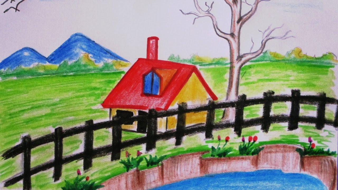 Drawn scenery crayon Scenery Easy landscape beautiful draw