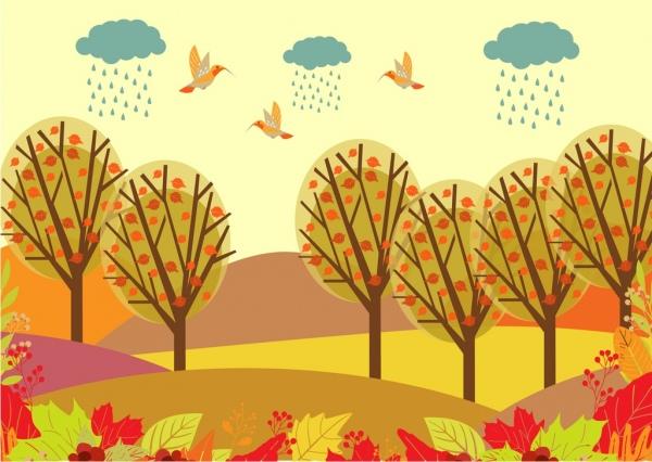 Drawn scenery cute Autumn landscape cartoon  decoration