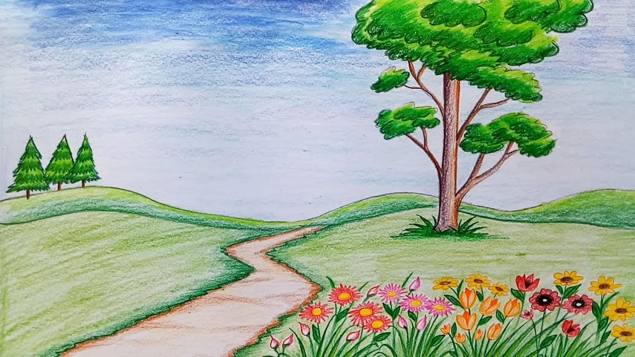 Drawn scenery go green To  by step (very