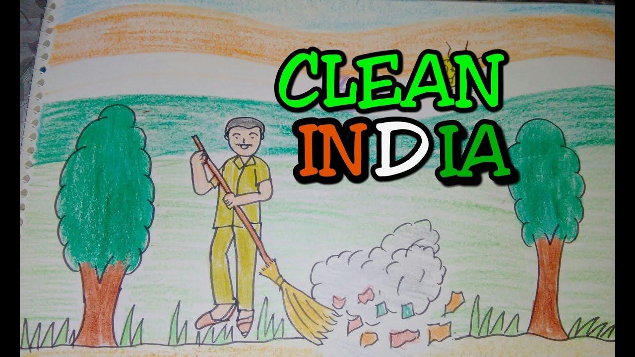 Drawn scenery go green Tutorial india clean  swachh