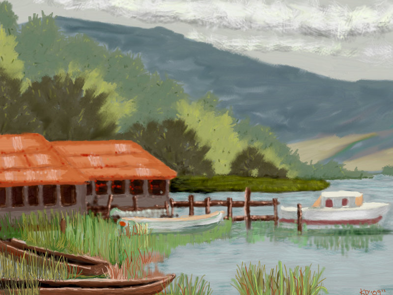 Drawn scenery landscape In  boat Boat ←